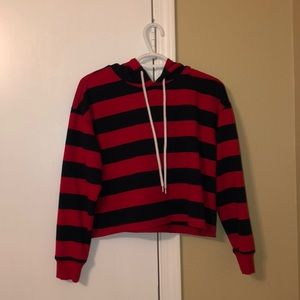Red and navy striped cropped hoodie